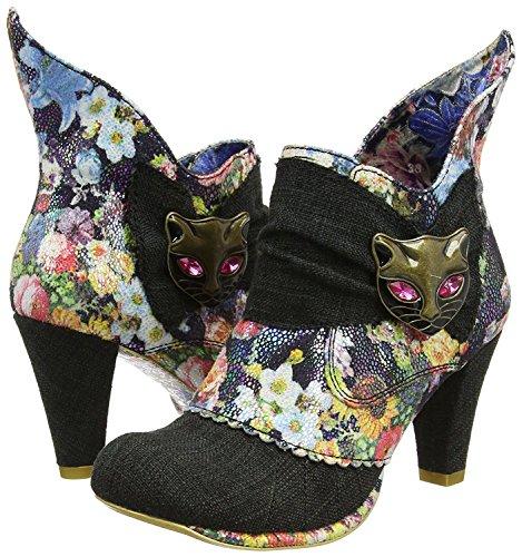 Irregular Choice Miaow Noir Floral Femmes Bottines Chaussures