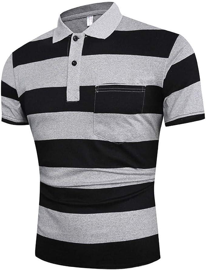 Mens T-Shirts Short Sleeve Big and Tall Casual Slim Short Sleeve Pockets Tees Blouse Tops F/_Gotal Polo Shirt for Mens