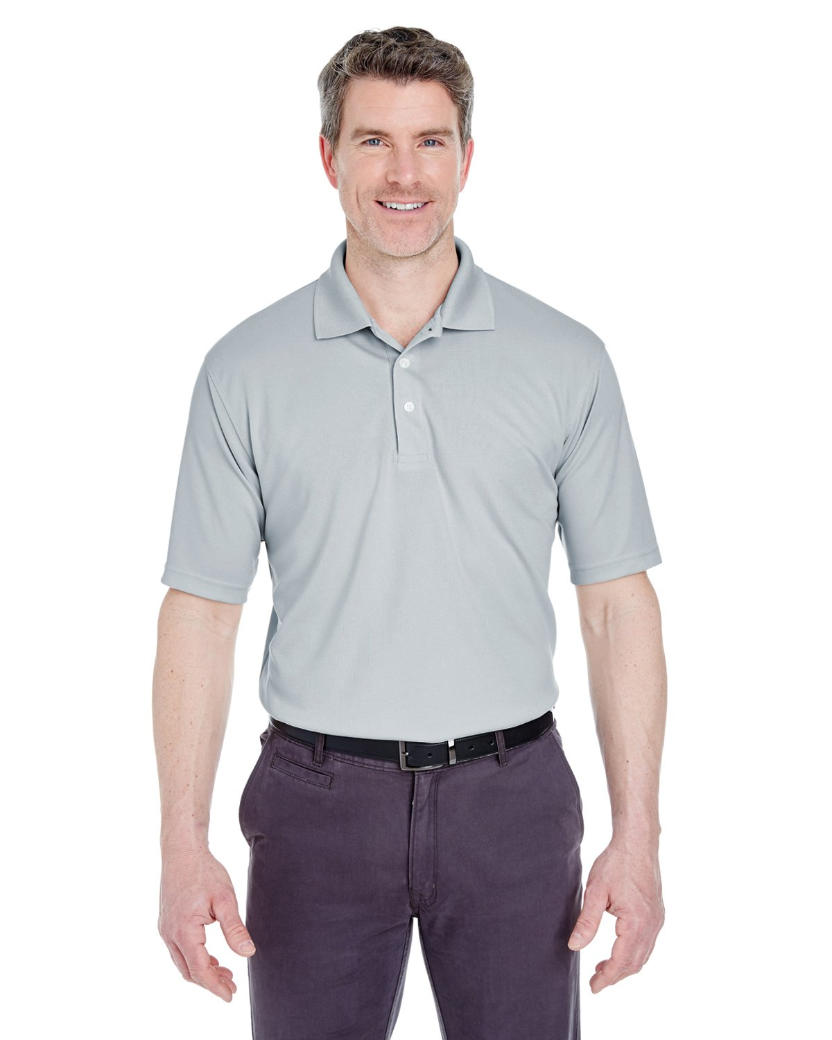 8445 UC MEN STAIN RELEASE PERF POLO SILVER 4XL UltraClub
