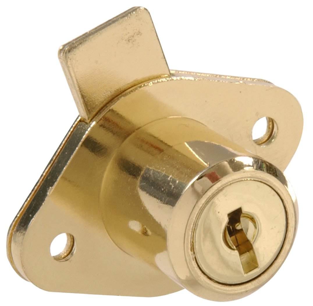 The Hillman Group 852236 Keyed Drawer Lock - Brass Finish 1-Pack