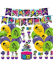 Teen Titans Go Birthday Party Decorations,Teen Titans Gaming Birthday Party,Teen Titans Birthday Inspired Party Supplies Includes Banner,Cake topper,Ballons,Cupcake Toppers