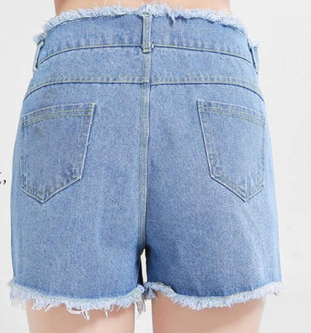 KLJR Women Stylish Tassles Casual Large Size Ripped Destroyed Denim Shorts Jeans Hot Pants