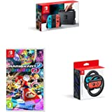 Nintendo Switch - Neon Red/Neon Blue with Mario Kart 8 Deluxe and Two Official Joy-Con Steering Wheels