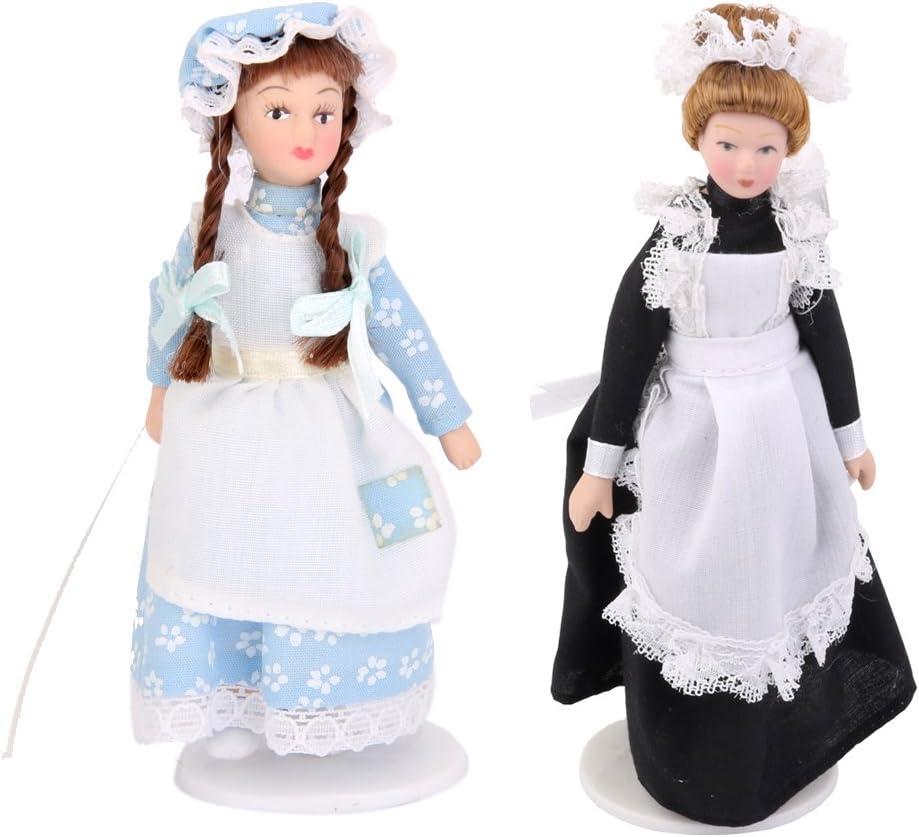 1:12 Dollhouse Porcelain Female Doll People Figure in Black Dress Suit Gift