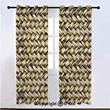 Abstract Semi Sheer Voile Window Curtain With Drapes Grommet,Rattan Basket Weave Pattern Natural Boho Country Style Geometric Monochrome Art Design,for Bedroom,Living Room & Kids Room(108'W x 108'L) G