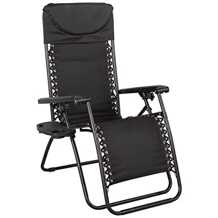 Sundale Outdoor Quilted Zero Gravity Reclining Chair With Head Pillow And  Utility Tray, Black