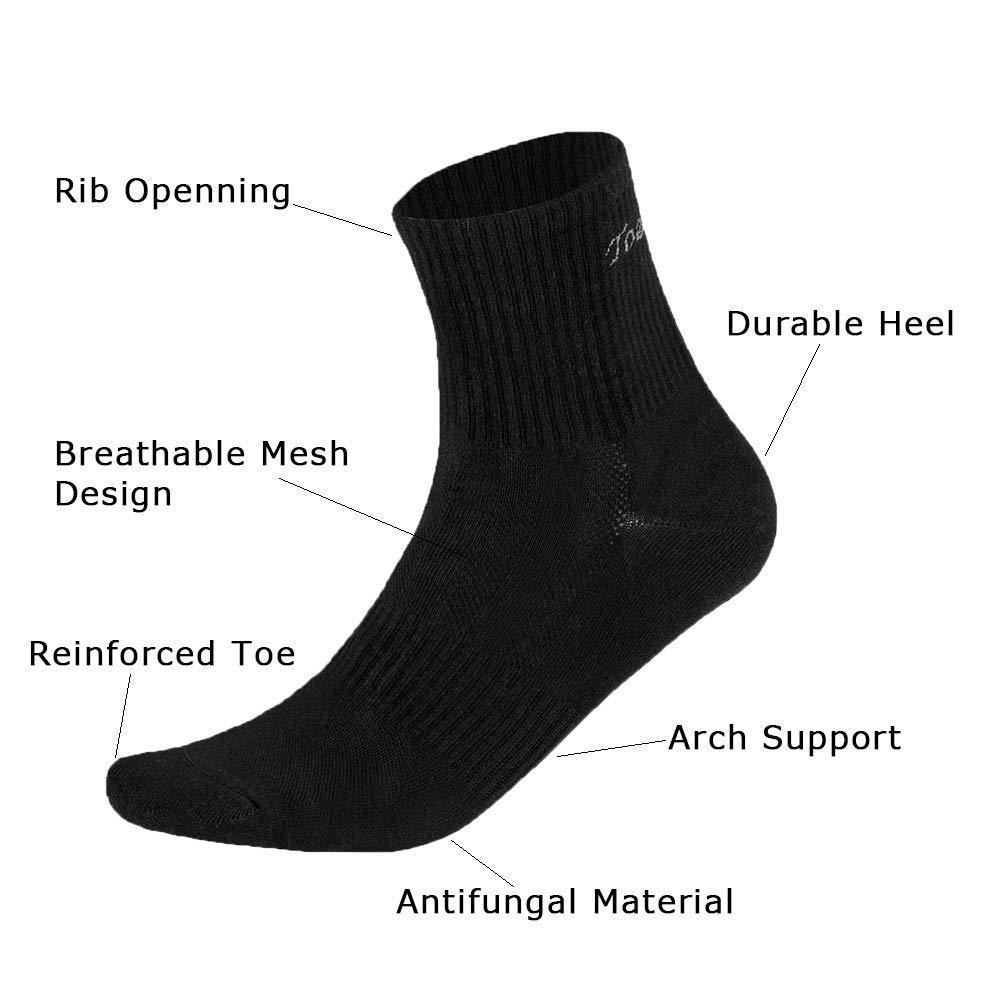 Toes/&Feet Mens Anti-Odor Quick-Dry Quarter Crew Athletic and Dress Socks TF18009