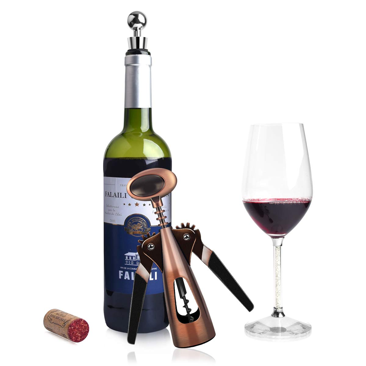 AUNOOL Wing Corkscrew Wine Opener - Red Bronze Wing Corkscrew Stainless Multifunction Professional Efficient All-in-one Wine Opener Wine Accessory Gift Set with Gift Ribbons by AUNOOL (Image #4)