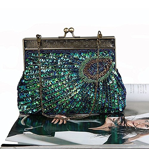 Navy Teal Beaded Catching Clutch and Peacock Sunburst Peacock Vintage Wedding for Turquoise Handbag Blue Evening Sequin Purse Eye Antique zHFqx5w