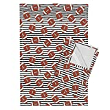 Roostery Football On Stripes Football Football Fabric Sports Sports Themed Nursery Sports Fabric Stripes Tea Towels College Football (Black by Littlearrowdesign Set of 2 Linen Cotton Tea Towels