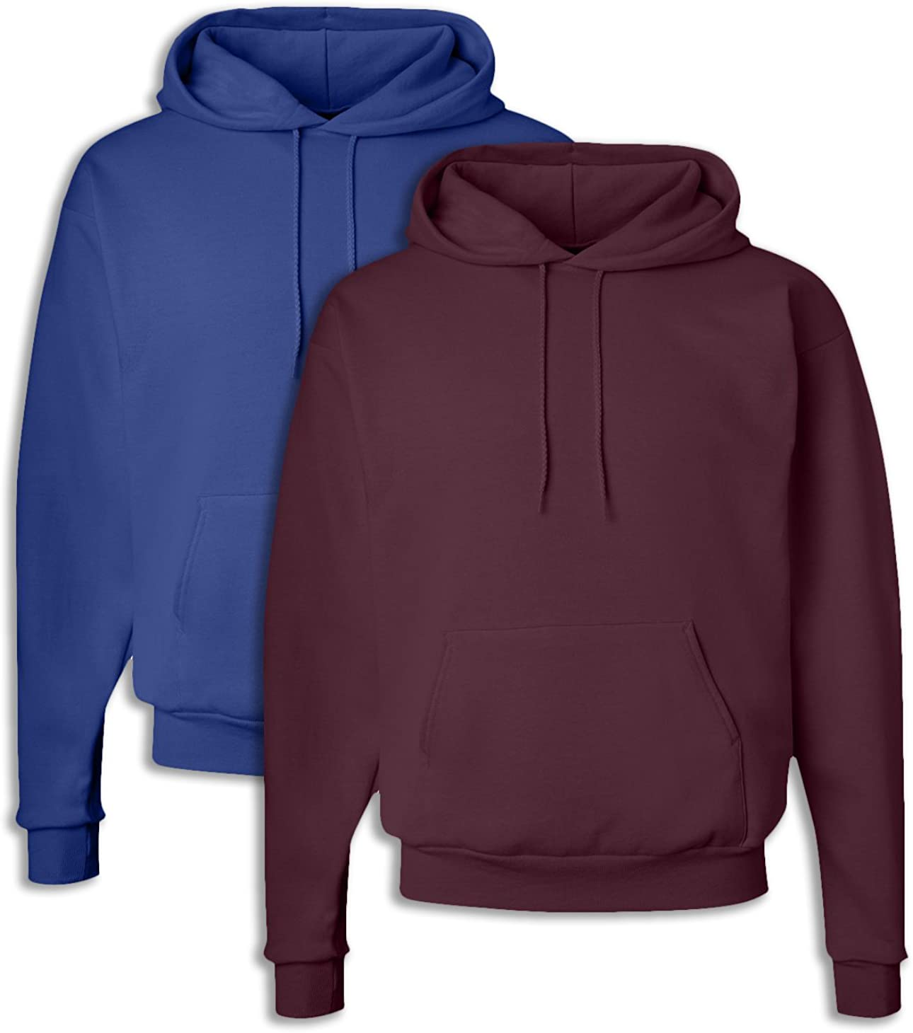 Hanes P170 Mens EcoSmart Hooded Sweatshirt Small 1 Deep Royal 1 Maroon