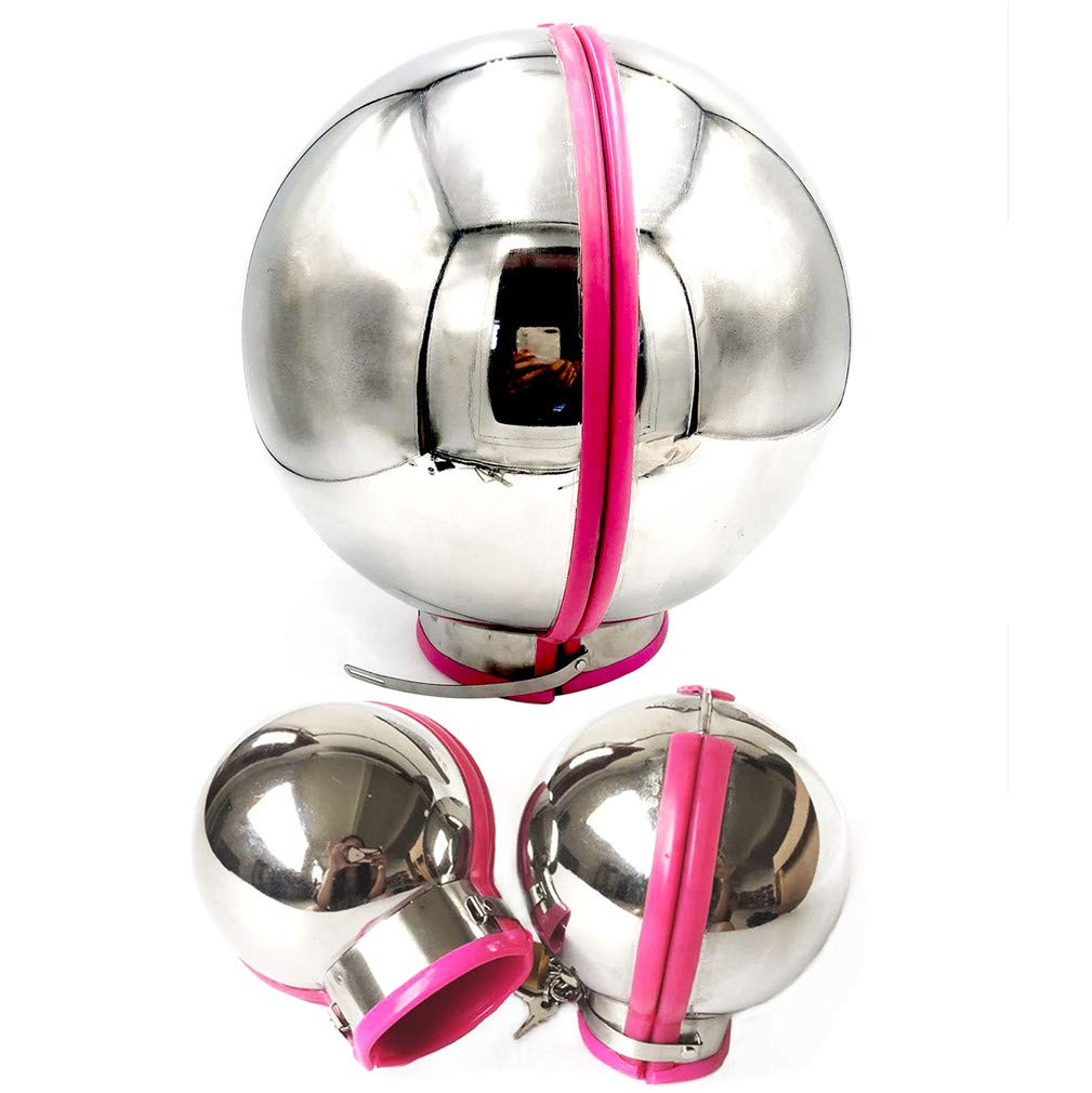 LI yuan Stainless Steel Bondage Set with Lock Sex Handcuffs Ball Helmet Slave BDSM Sex Toy Adults Sex Games for Couples,Pink,Male