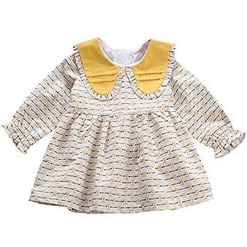 XIU*RONG 1-3 Años Vestidos Primavera Baby Baby Doll Princess Collar De Algodón
