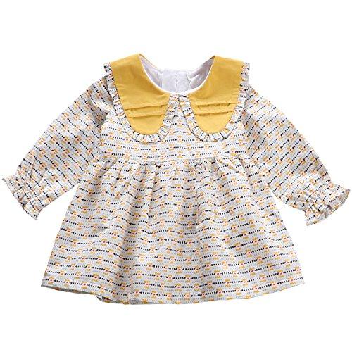 Vestidos Baby 3 1 Collar XIU yellow Doll Larga Falda Baby Años Princesa Algodón De RONG De Primavera Manga Falda IH0Hwq