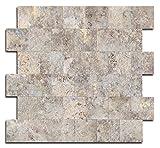 "Yipscazo Peel and Stick Tile Backsplash, PVC Ecru Slate Backsplash Stone Tile for Kitchen Peel and Stick (12"" X 12"", 5 Sheet)"