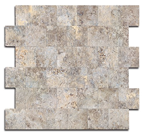 Autumn Slate Tile - Yipscazo Peel and Stick Tile Backsplash, PVC Ecru Slate Backsplash Stone Tile for Kitchen Peel and Stick (12