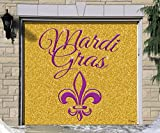Outdoor Mardi Gras Decorations Garage Door Banner Cover Mural Décoration 7'x8' - Mardi Gras Gold Glitter- ''The Original Mardi Gras Supplies Holiday Garage Door Banner Decor''