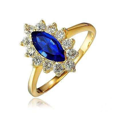 Étonnant Bague de princesse en or 18 carats avec saphir bleu, cristal JA-82