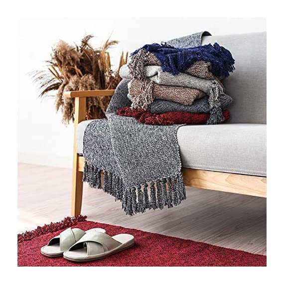"Wolala Home Hand Woven Reversible Tassels Cotton Indoor Area Rug Mats Runner Rugs for Bedroom/Kitchen/Living Room/Laundry Room/Entryway 2'x6', Gray - 100% WOVEN COTTON - with 2"" decorative tassels fringe finish that won't unravel in wash. DURABLE USE- Six strands of cotton thread to weave,improve flexibility,can machine washable or used for a long time SIZE - 2'x6' Multi colors and sizes to choose, that are easy to mix and match - runner-rugs, entryway-furniture-decor, entryway-laundry-room - 61Z8u5283EL. SS570  -"
