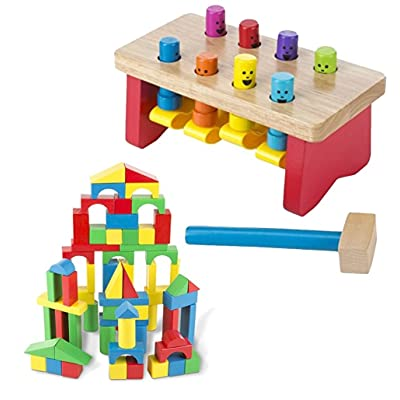 Melissa & Doug Bundle Includes 2 Items Deluxe Pounding Bench Wooden Toy with Mallet Wooden Building Blocks Set - 100 Blocks in 4 Colors and 9 Shapes: Toys & Games