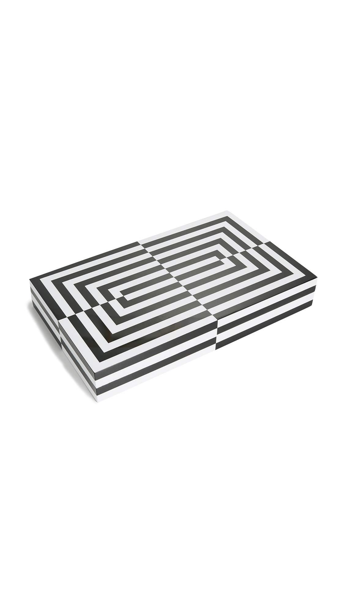 Jonathan Adler Men's Lacquer Op Art Backgammon Set, Black/White, One Size
