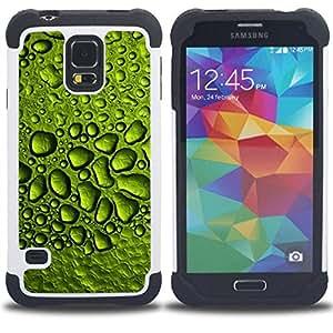 "Pulsar ( Gotas de rocío de agua de lluvia Hoja Naturaleza"" ) SAMSUNG Galaxy S5 V / i9600 / SM-G900 V SM-G900 híbrida Heavy Duty Impact pesado deber de protección a los choques caso Carcasa de parachoques [Ne"