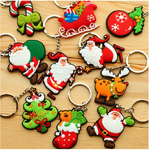 (PhoebeTan Christmas Gift Santa Claus PVC Keychain 10 Pieces In A Bag (1 bag) )