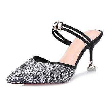 9def35301ca Queena Wheeler Women Comfy Kitten Low Heel Mules Slip on Clog Sandals Peep  Toe Stiletto Dress