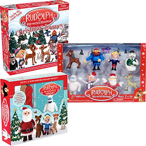 (Set) Rudolph The Reindeer Crochet Kit Christmas Journey Game and Figure Set by CLOSEOUT ZONE