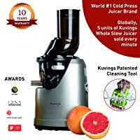 Kuvings B1700 Professional Cold Press Whole Slow Juicer, Powerful 240 Watts Motor, Patented JMCS Technology for Guaranteed Maximum Yield (Dark Silver)