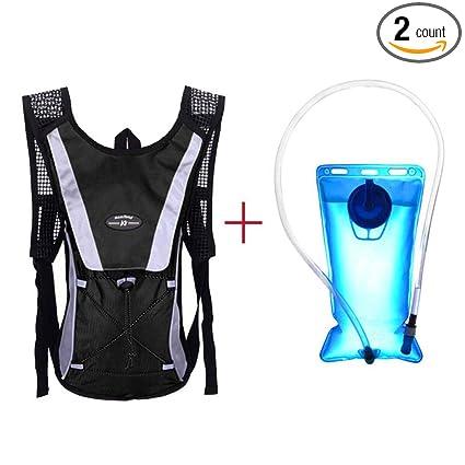 HANYI Water Bladder Bag Backpack+Hydration Packs Hiking Camping 2L (Black) c8d8cb1373161
