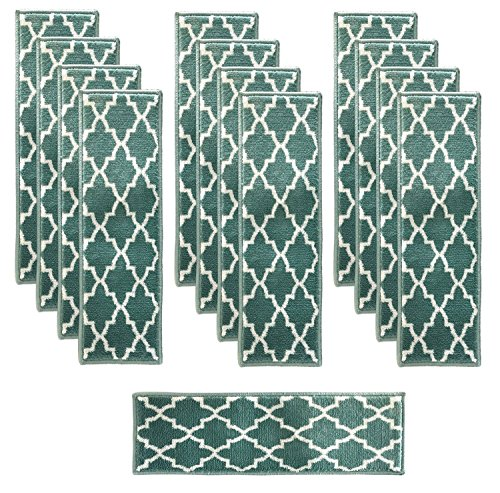 Sultansville Trellisville Collection Trellis Design Vibrant and Soft Stair Treads, Teal, Pack of 13