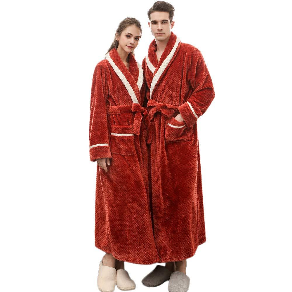 Unisex Fleece Robe, Couple Bathrobe Soft Spa Full Length Warm Kimono Bathrobe Veepola