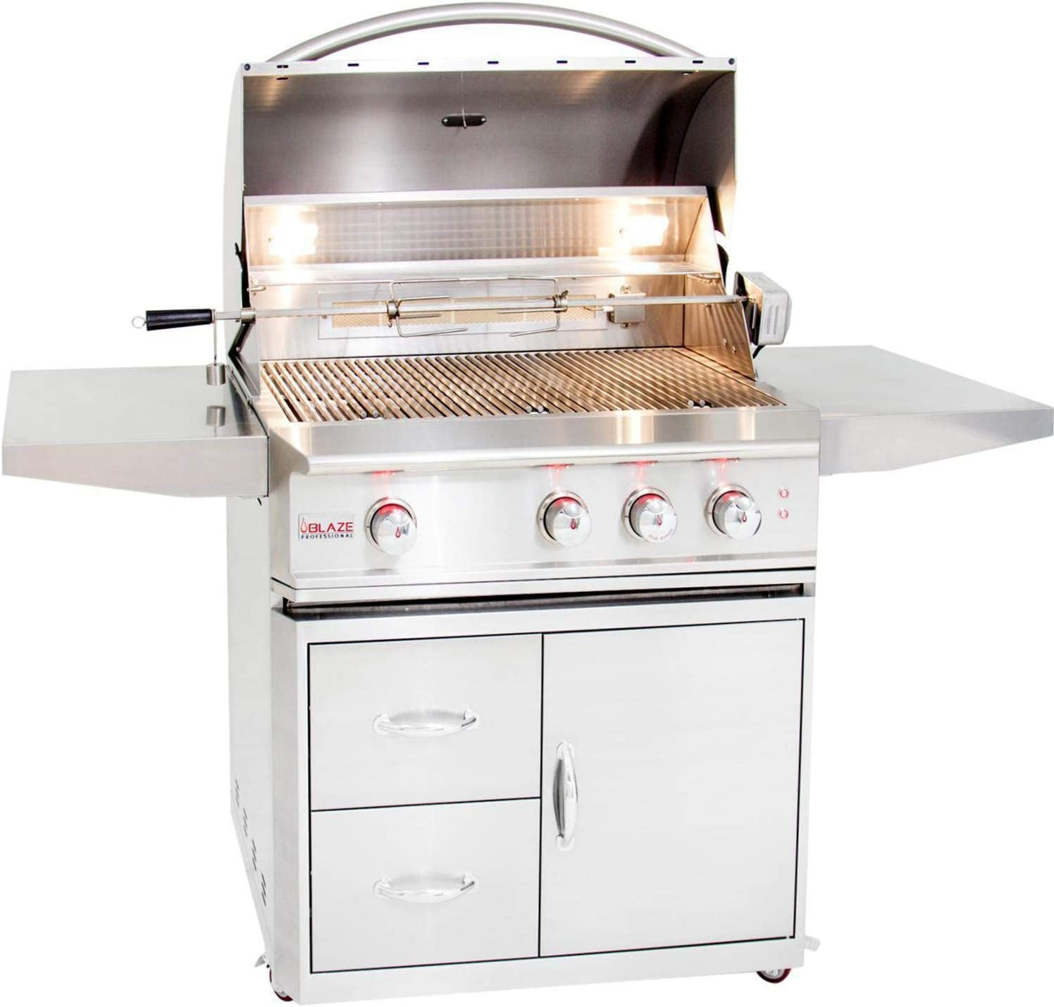 Blaze Professional 3-burner Natural Gas Grill With Rear Infrared Burner On Cart