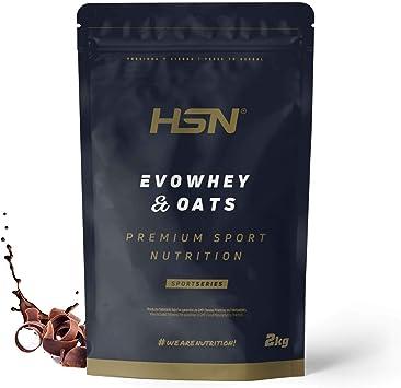 Evowhey & Oats de HSN   Proteína Whey Harina de Avena   Ideal para Desayunos o Meriendas   Bajo en Azúcar, Apto Vegetarianos, Sin Soja, Sabor ...