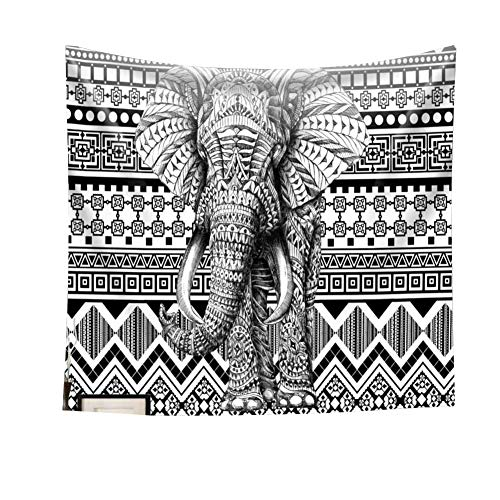 chengsan Black and White Elephant Wall Tapestry Hanging - Polyester Fabric Wall Art Tapestries Home Decor - 59