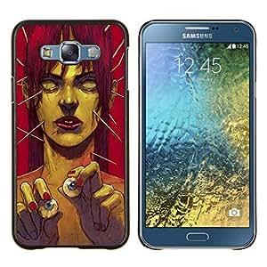 "Be-Star Único Patrón Plástico Duro Fundas Cover Cubre Hard Case Cover Para Samsung Galaxy E7 / SM-E700 ( Zombie Arte Ojo Bolas monstruo verde Redhead"" )"