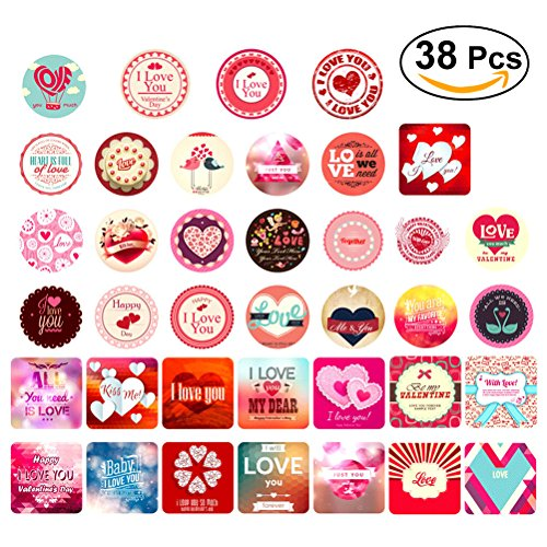 Tinksky Valentine's Day Adhersive Stickers Different Designs for Gift Book Cards Valentine's Day gift DIY 38pcs