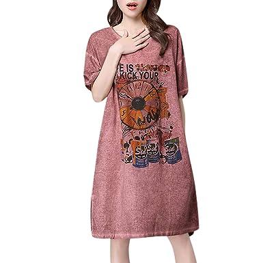 Gusspower Mujer Casual Vestido De Manga Corta Vestido De Camiseta ...