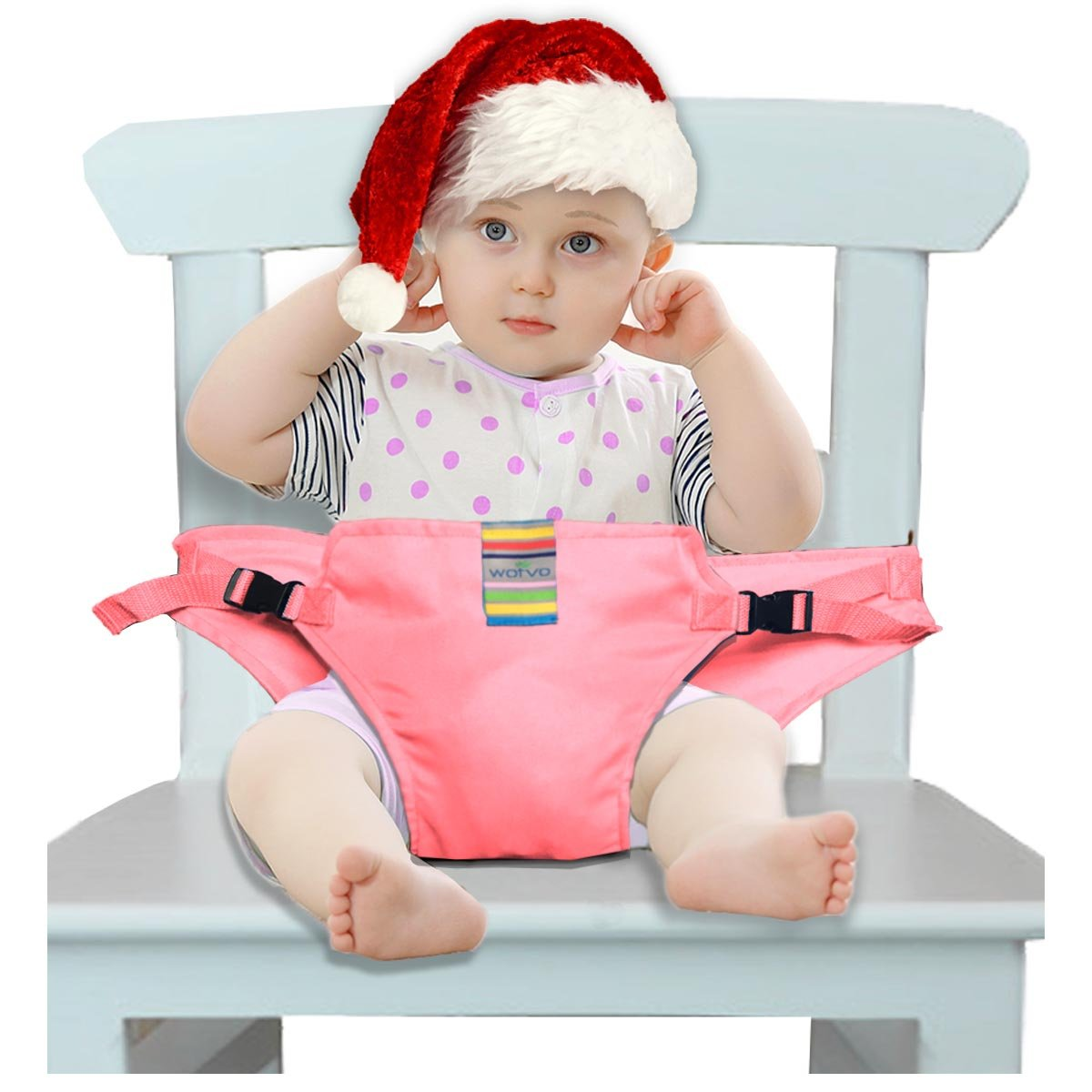 The Washable Portable Travel High Chair Booster Baby Seat with straps Toddler Safety Harness Baby feeding the strap (6 Color) (Pink) Hangzhou Wo yu Trading Co. Ltd zyd-01A