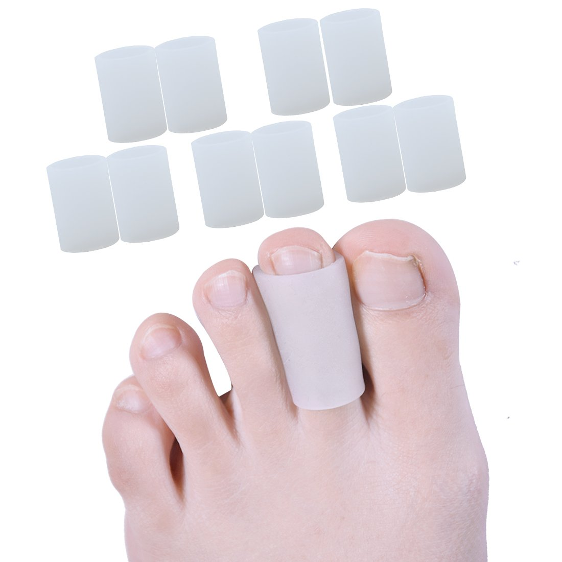 Sumiwish Gel Toe Sleeves, Silicone Toe Protectors, Cuttable Toe Tubes for Stubbed Toe, Sore Toes, Corns and Calluses, Protect Damaged Toes 5 Pairs Silicone Toe Sleeves