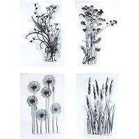 Healifty 4PCS Dandelion Clear Stamps Lavender Flowers Leaves Rubber Decorative Stamps for DIY Scrapbook Photo Album Card…