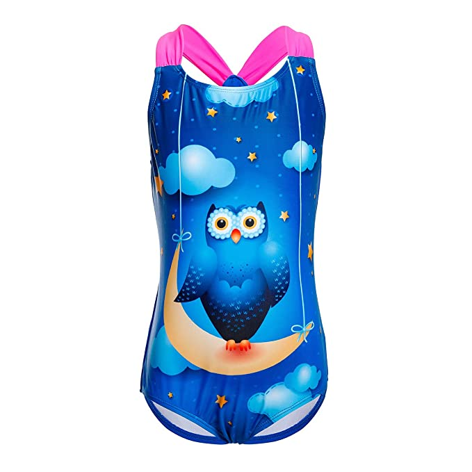 DAYU Girl's Lovely Cartoon Owl Printed One Piece Swimsuit Monokini Swimwear