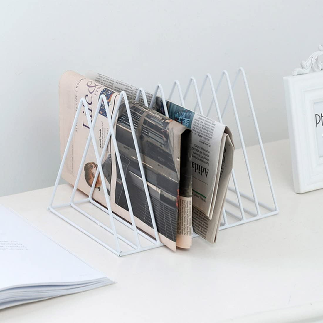 Ecent Book Rack Organizador de Archivos metalico Revistero de Escritorio para despacho casa Biblioteca