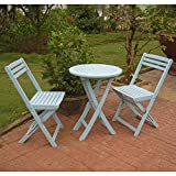 International Caravan TT-VN-0158-SKB-IC Furniture Piece Set of 3 Acacia Folding Bistro Set For Sale