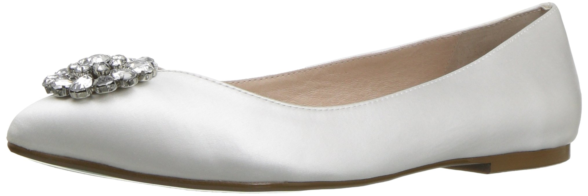 Blue by Betsey Johnson Women's Sb-Ava Pointed Toe Flat, Ivory Satin, 8.5 M US