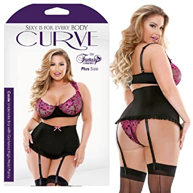 68ea41a3e0152 Image Unavailable. Image not available for. Color  Magic Silk Curve Cassie Underwire  Bra With Gartered High Waist Panty ...
