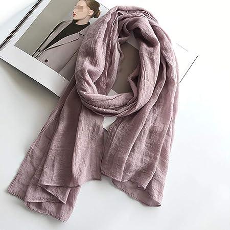 GCC Bufanda De Algodón Y Lino Color Sólido para Mujer,Otoño E Invierno Salvaje Sección Delgada Transpirable Bufanda, 2 Estilos Disponibles G-190 * 75cm/74.8 * 29.5: Amazon.es: Hogar