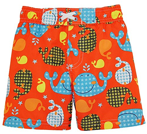 iXtreme Baby Boys Cute Whale Short Sleeve Rashguard Top Board Swim Trunk Set, Orange, 18 Months by iXtreme (Image #3)