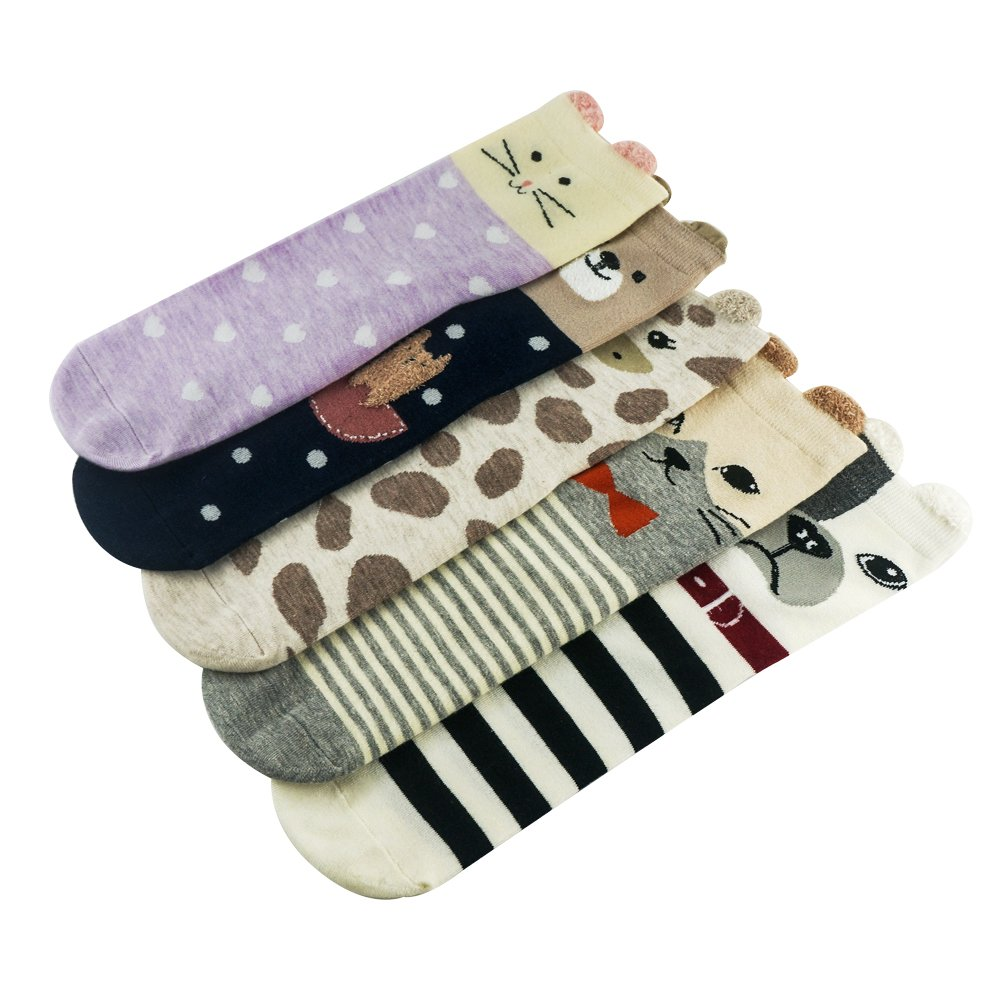 5 Pairs Women\'s Cute Funny Animals Socks for Girls Funky Novelty Gift, AIMKE knitted socks, a variety of colors can be chosen (Female socks) (Colorful-GW20)